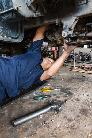 Professional car mechanic working in auto repair service. photo