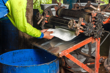 Some rubber sheet is rolled by machines.