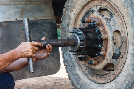 Repairing wheel, by a qualified mechanic.