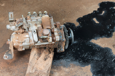 The damaged engine oil, spare parts truck.