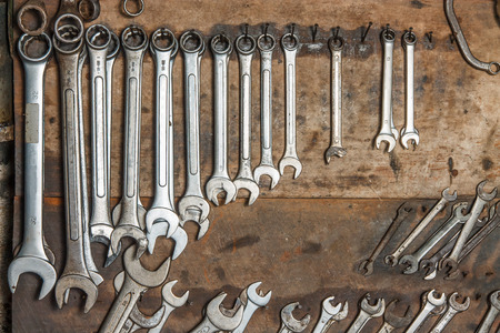 Wrench hanging nail wall, Maintenance and Service. Reklamní fotografie