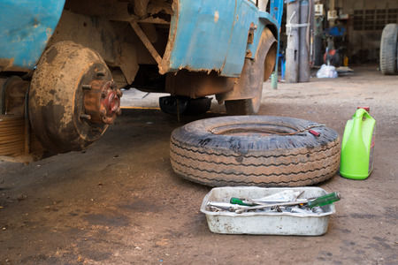 The wheels were removed, truck repair garage.