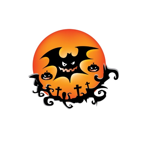 old moon: Halloween background with bat on the moon