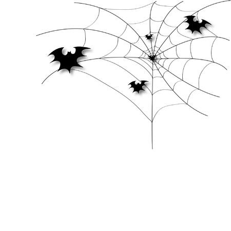 Bat on a spider web Illustration