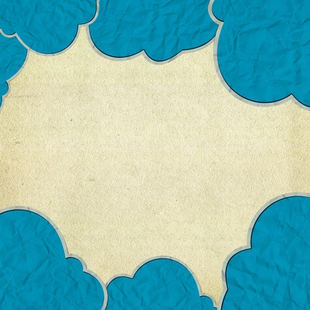 cloud paper craft and old paper Stock Photo