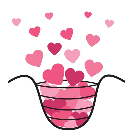Basket With Hearts Valentine Stock Photo