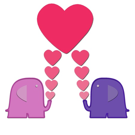 Valentine Elephants with heart for background and text note photo