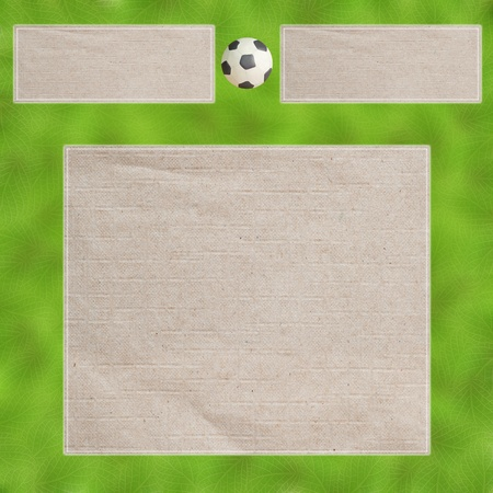 Plasticine Football on Leafs and  paper , Frame background photo