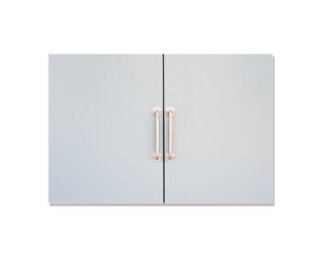 Door with chrome silver handles set  Stock Photo