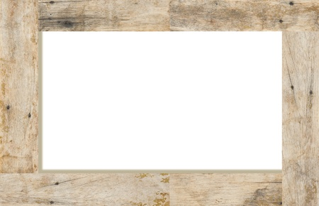 Wood frame on white background, space for text