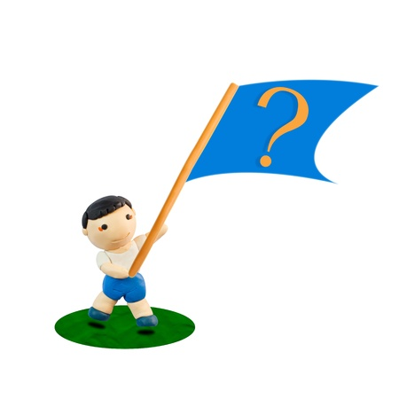 be lost: Plasticine Question Flag on hand of Child Stock Photo