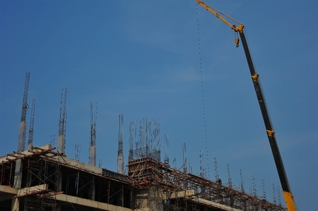 Construction site with concrete steel photo
