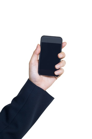 Business Hand holding smart phone Stock Photo - 13600778
