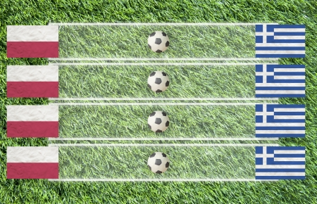 Plasticine Football flag on grass background for score (Group A) photo