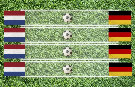 Plasticine Football flag on grass background for score (Group B) photo