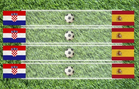 Plasticine Football flag on grass background for score (Group C) photo