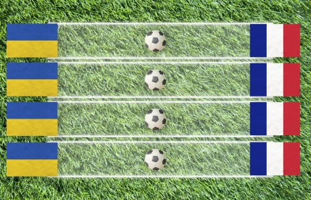 Plasticine Football flag on grass background for score (Group D) photo