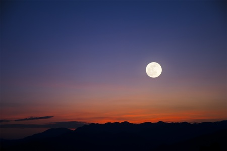 Mountain landscape with the moon