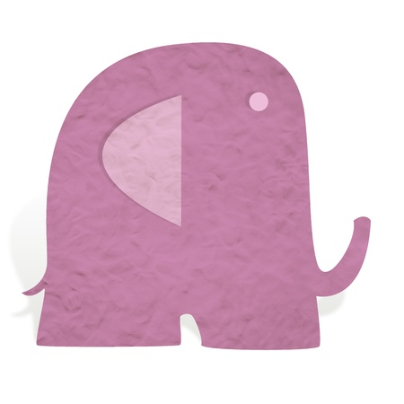 Plasticine elephant on white background photo