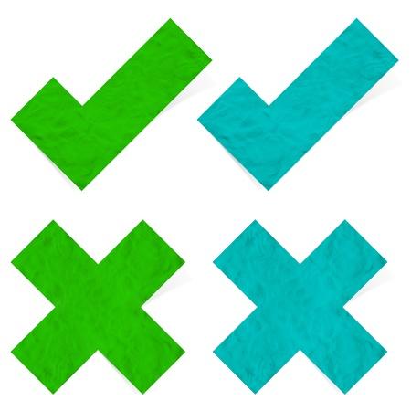 Plasticine check mark stick on white background Stock Photo - 13727041
