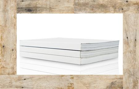Blank book on wood frame photo