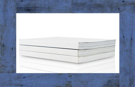 Blank book on blue wood frame photo