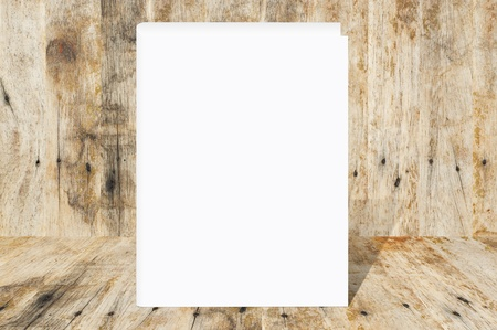 Blank Book on wood background photo