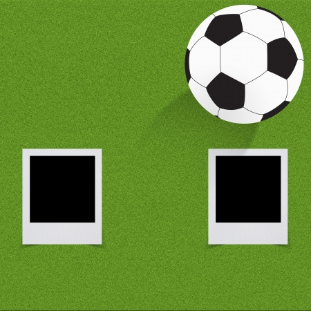 Football soccer on grass background  photo