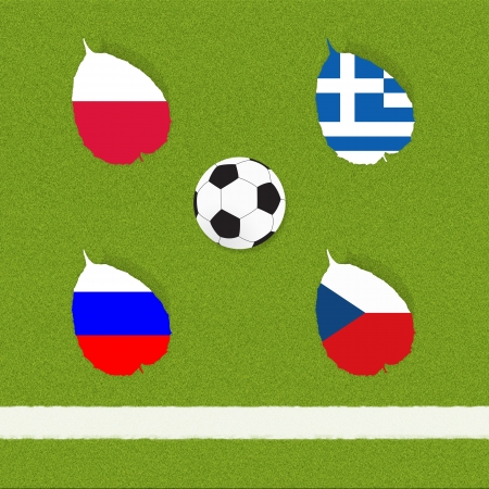 Football soccer of flag on grass background Stock Photo - 13894300