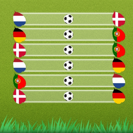 Group stage of football on grass background photo