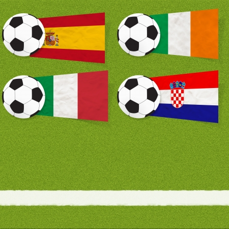Plasticine flag football soccer on grass background photo