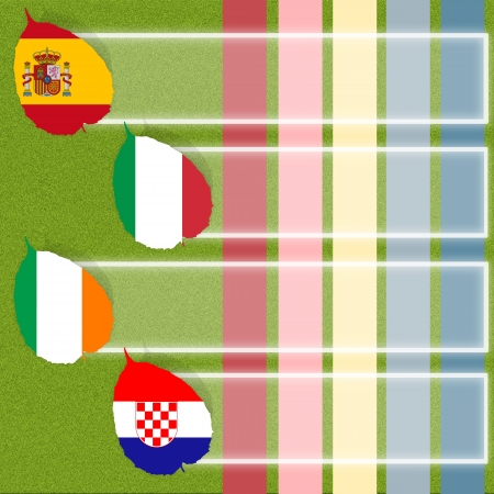 Football soccer of flag on grass background photo