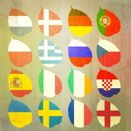 Paper Flag of football soccer on white background photo