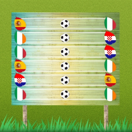 Group stage and billboard of football on grass background photo