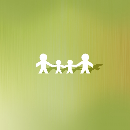 Family of paper cut on abstract background photo