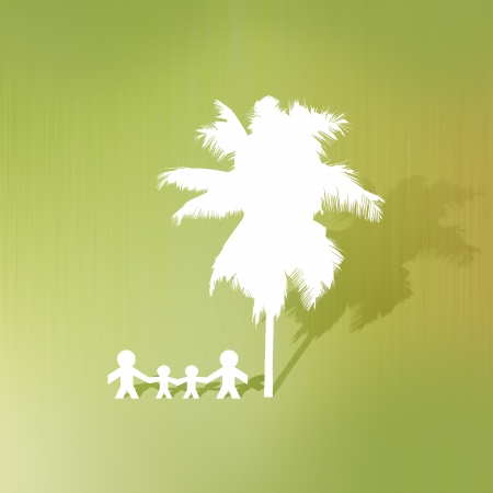 Coconut tree and family of paper cut on abstract background photo