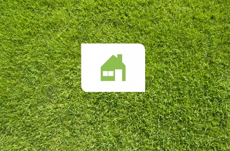 Icon home on green grass,  texture background photo