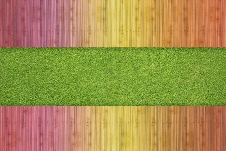 Color wood on grass background and texture photo