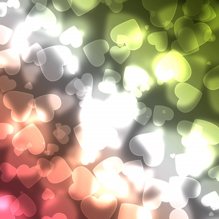 Shiny hearts bokeh light background  Stock Photo - 14343165