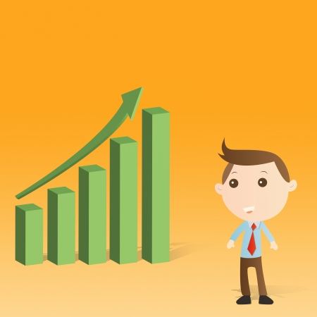 Businessman with graph on yellow background photo