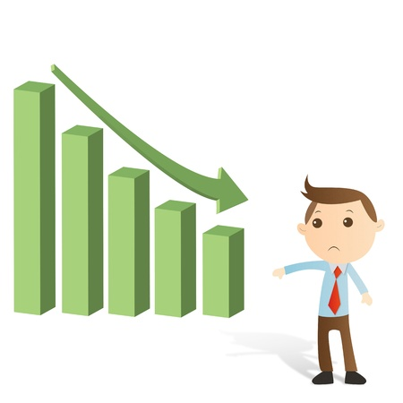 Businessman with graph on white background