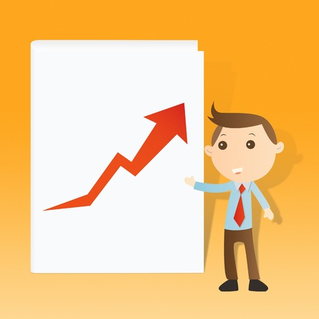 Businessman with graph and book on yellow background Stock Photo - 14427556