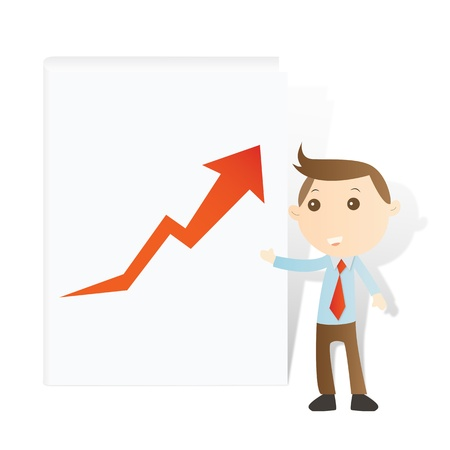 Businessman with graph and book on white background Stock Photo - 14427396