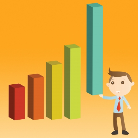 Businessman with graph on yellow background Stock Photo - 14427579