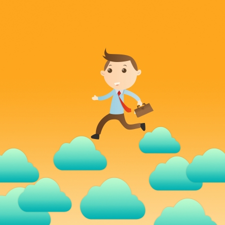 Businessman with cloud on yellow background photo