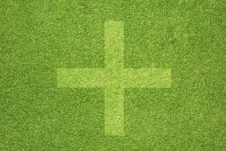 Plus icon on green grass background Stock Photo - 14489399