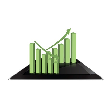 Graph on tablet computer background Stock Photo