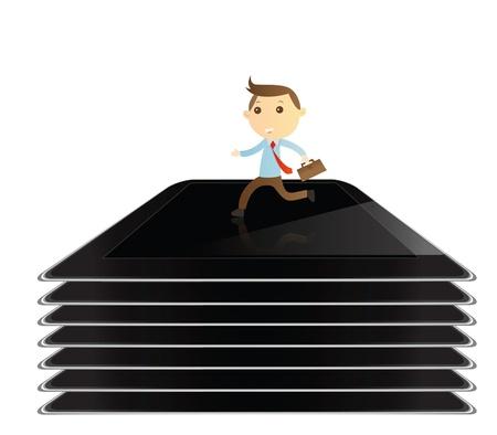 Businessman running on tablet background photo
