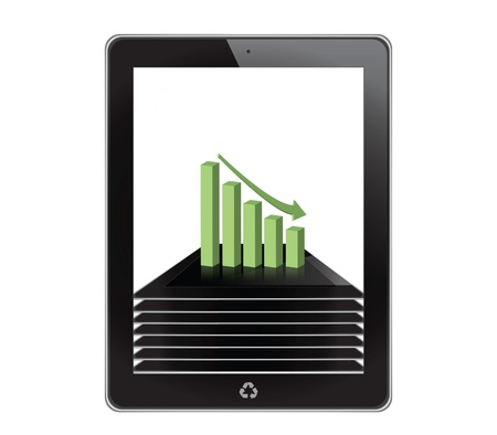 Graph on tablet computer background photo