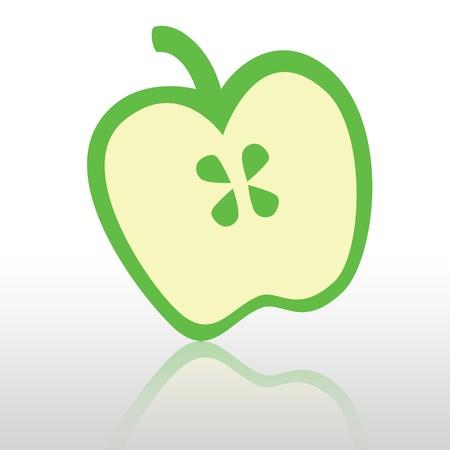 green apple slice: Green apple slice on white background